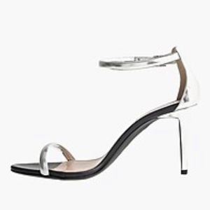 J Crew Mixed Italian Leather Silver Strappy Sandal
